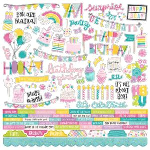 Simple Stories - Magical Birthday - 12 x 12 Combo Sticker Sheet